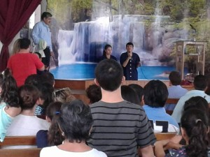 Juan baptizing in Bolivia